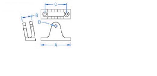 Stainless Steel Bimini Top Angled Deck Hinge